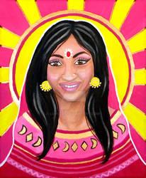Indian Woman - 'Sun' Tarot Card - Acrylic Painting