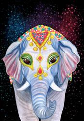 Indian Holi Elephant Watercolor Acrylic Painting