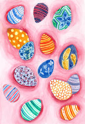 Easter Egg Watercolor Painting