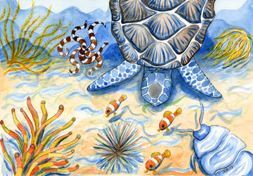 Sea Turtle - Bottom of the Sea Watercolor Painting