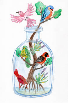 Birds in a Bottle Watercolor Painting