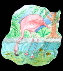 Flamingo Underwater Watercolor Painting