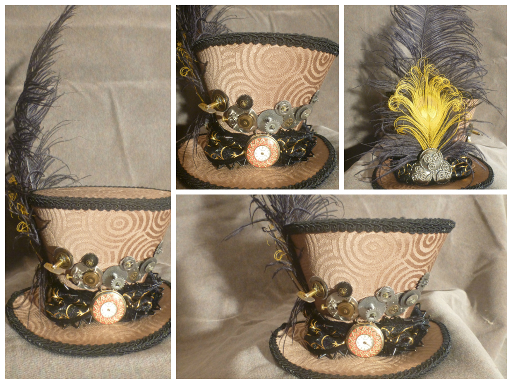 Steampunk Inspired Mad Hatter Mini Hat Fascinator by AbsolutelyFascinated