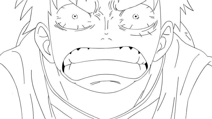 Luffy Lineart : Luffy lineart by blacky sama on deviantart