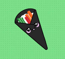 Cute sushi handroll by Elmotjuuh