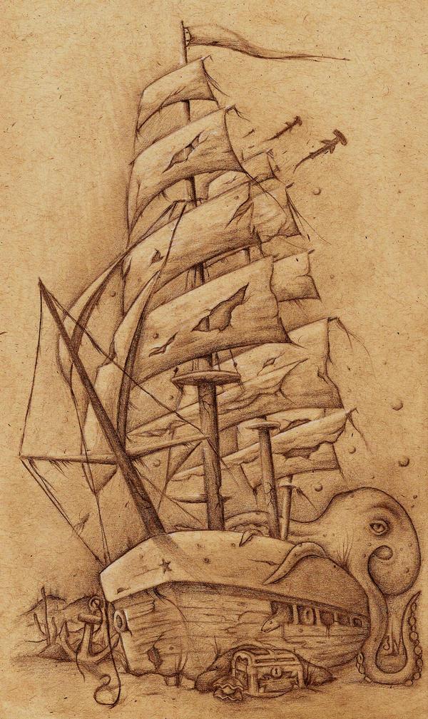 Ship Tattoo by JordanMendenhall on DeviantArt