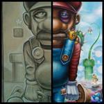 Mario in shroomland sketch to finish