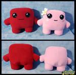Meat Boy and Bandage Girl plushie prototypes
