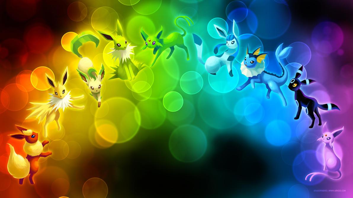 _wallpaper__eeveelution_rainbow_by_arkei