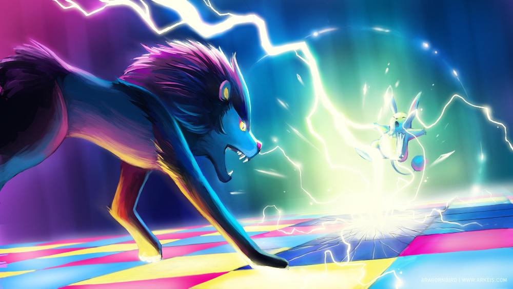 Shocking Start - Luxray vs. Azumarill by arkeis-pokemon