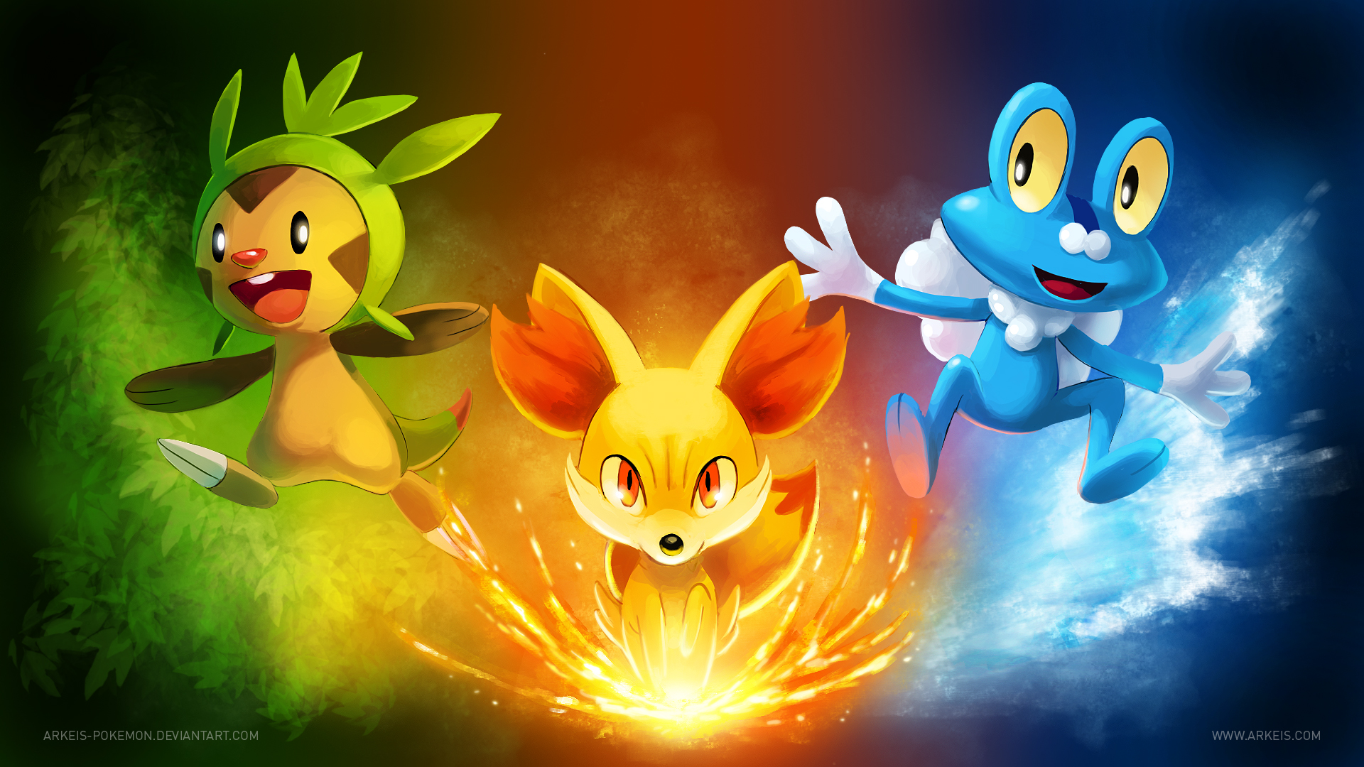 [Wallpaper] Pokemon X/Y Starters by arkeis-pokemon