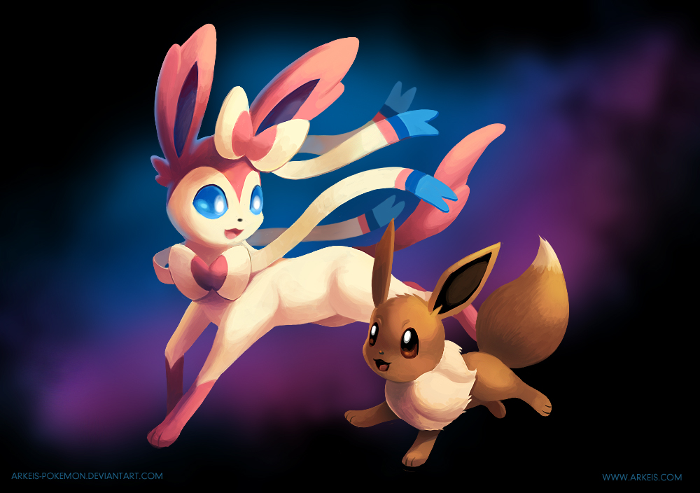 Sylveon and Eevee by arkeis-pokemon