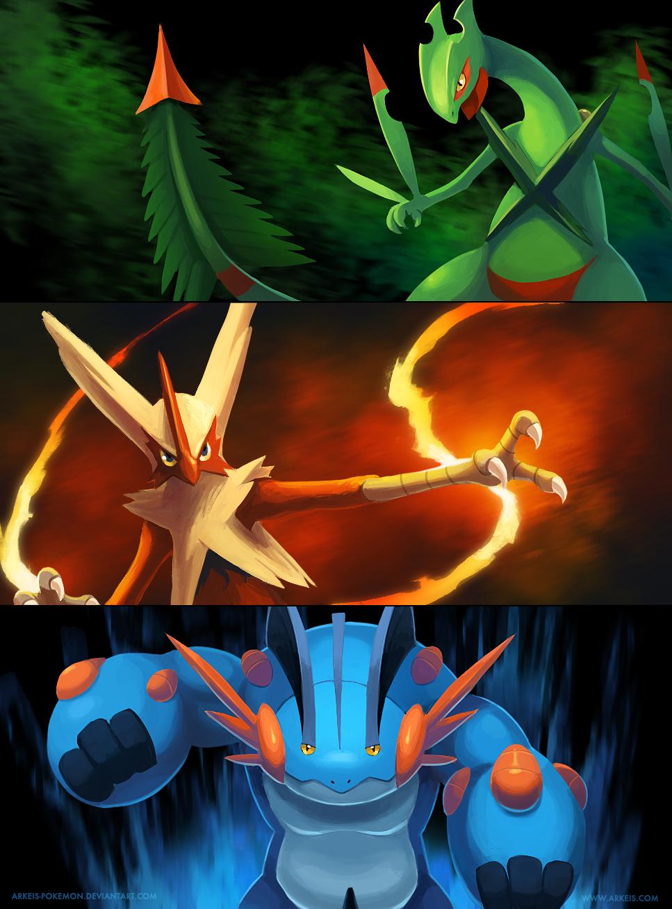 Mega Hoenn Starters by arkeis-pokemon