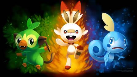 [Wallpaper] Pokemon Sword/Shield Starters by arkeis-pokemon
