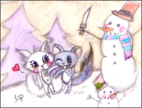 HTF::Tickles and Chizzle::Winter-Time-Fun by YoshiReibu