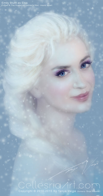Emily Blunt as Elsa fan-art for time-lapse video by Cellesria