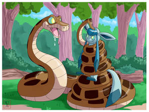 Commission .: Kaa + Glaceon :.