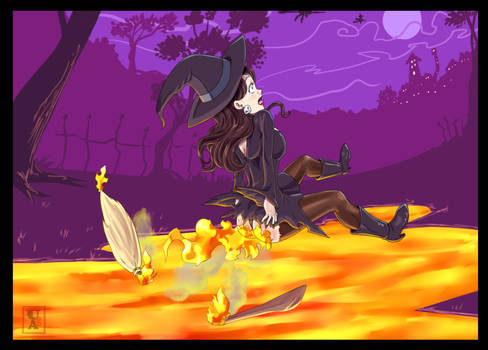 Commission .: Witch Racer... with fire spells :.