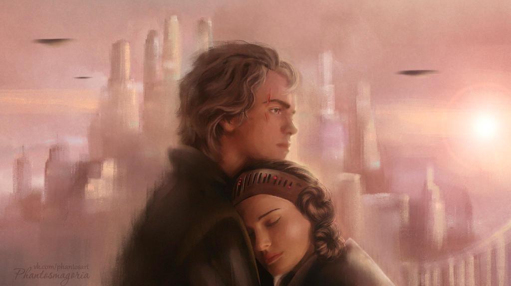 Padme and Anakin by phantosmagoria