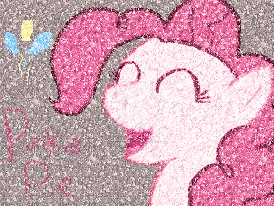 PinkiePie- SidewalkArt by Brashgirl901