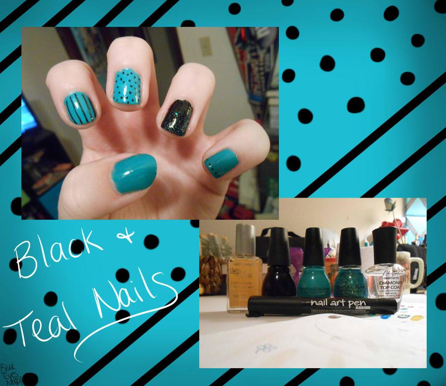 Black And Teal Nails By Blueeyesneko On Deviantart
