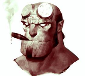 Hellboy Portrait by SterlingTuttle