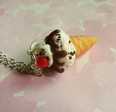 cookies and cream ice cream cone necklace by ScrumptiousDoodle