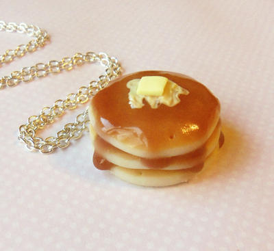 buttery pancake necklace - polymer clay by ScrumptiousDoodle