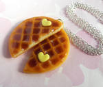 polymer clay waffle best friend necklaces