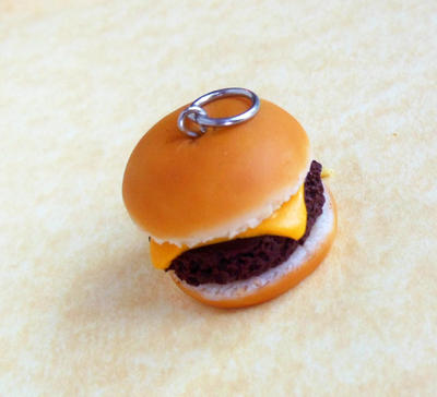 little polymer clay cheese burger charm by ScrumptiousDoodle