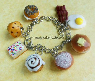 polymer clay breakfast theme charm bracelet by ScrumptiousDoodle