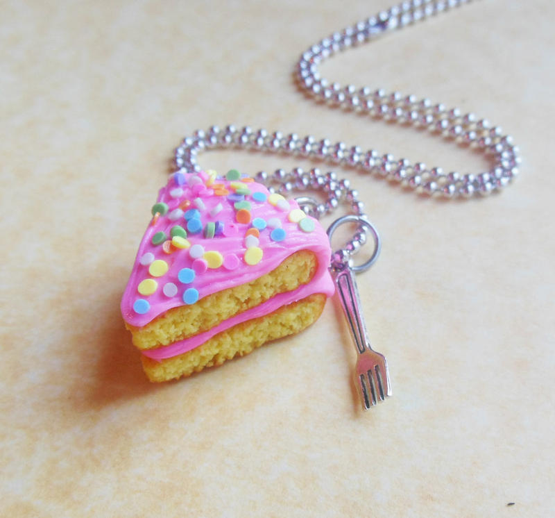 cake and a fork necklace by ScrumptiousDoodle