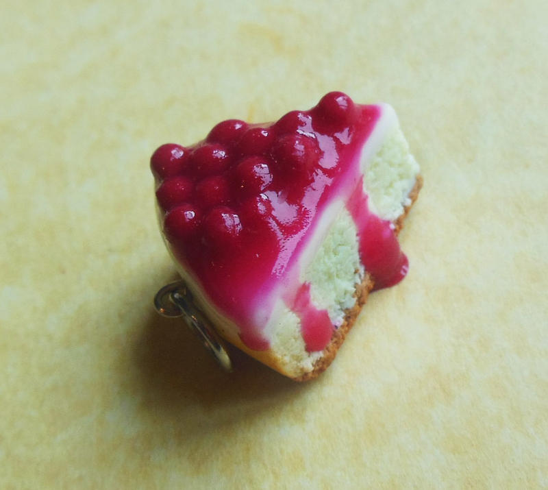polymer clay cherry cheesecake charm by ScrumptiousDoodle