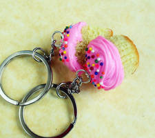 polymer clay cupcake friendship bff keychains by ScrumptiousDoodle