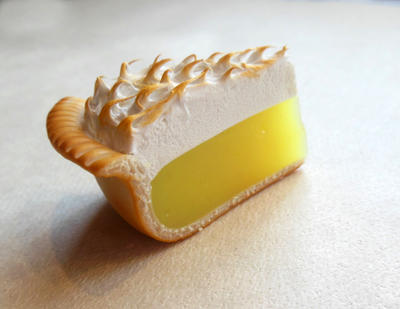 Lemon Meringue Pie Polymer Clay Food Magnet by ScrumptiousDoodle