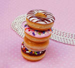 polymer clay miniature doughnut necklaces
