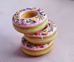 Strawberry Doughnut Polymer Clay Food Magnets