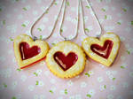 Happy Valentine's Day Polymer Clay Linzer Cookies by ScrumptiousDoodle