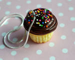 Miniature Chocolate Cupcake Necklace, Polymer clay by ScrumptiousDoodle
