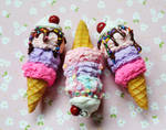 Polymer Clay Miniature Ice Cream Cone Charms