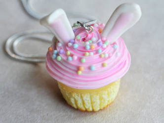 Polymer Clay Miniature Bunny Cupcake Necklace by ScrumptiousDoodle