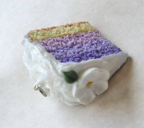 Polymer Clay Ombre Cake Slice Charm Miniature by ScrumptiousDoodle