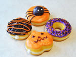 Miniature Polymer Clay Halloween Doughnut Magnets by ScrumptiousDoodle