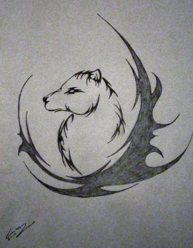 easy tribal wolf drawing - photo #28