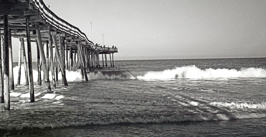 Fishing pier on old oregon inlet trail nags head by for Jetty fishing oregon