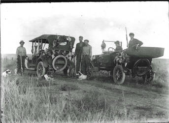 Hunting Scene from glass plate negative