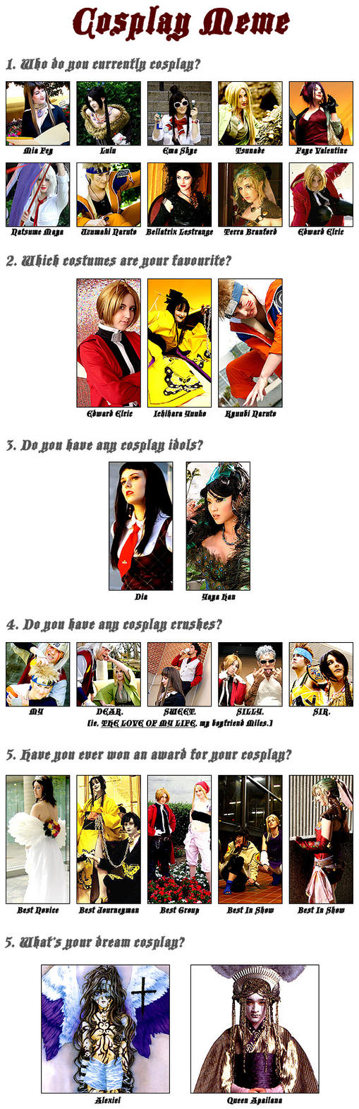 Cosplay Collage Meme. by cupcake-rufflebutt
