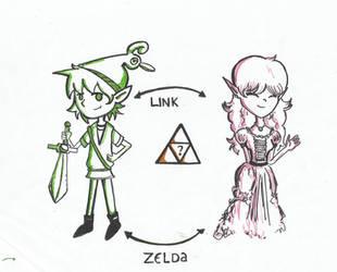 Link and Zelda by DarkRainey