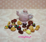miniature teapot and cookies by tinkypinky