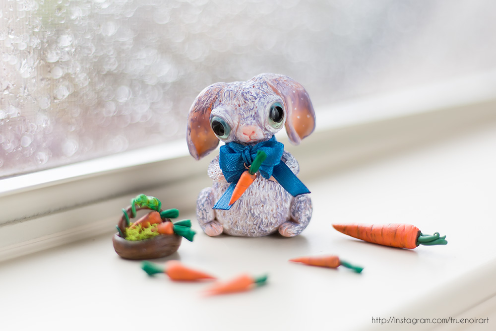 Purple Bunny Figurine, polymer clay 01 by NoirArt